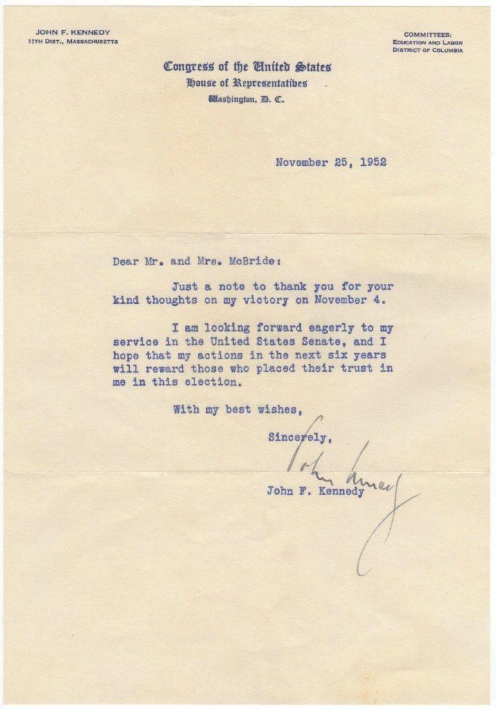 JFK Signed Letter