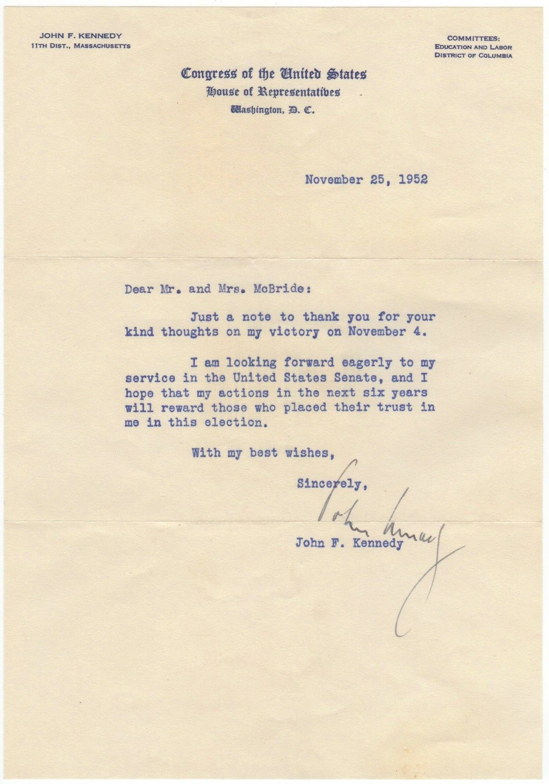 "John F. Kennedy – typed letter signed ""I am looking forward ...to my service..."""
