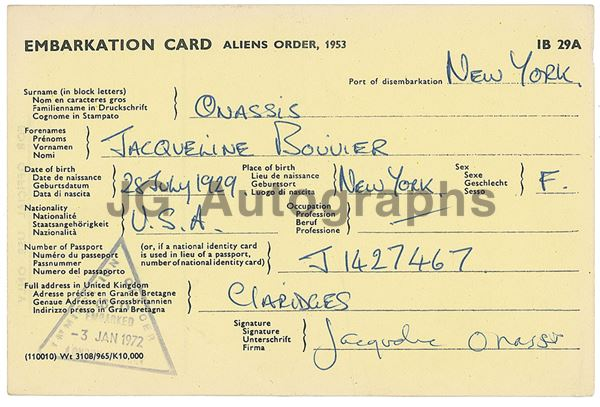 Jacqueline Kennedy Onasis Autographed United Kingdom Customs Embarkation 1972