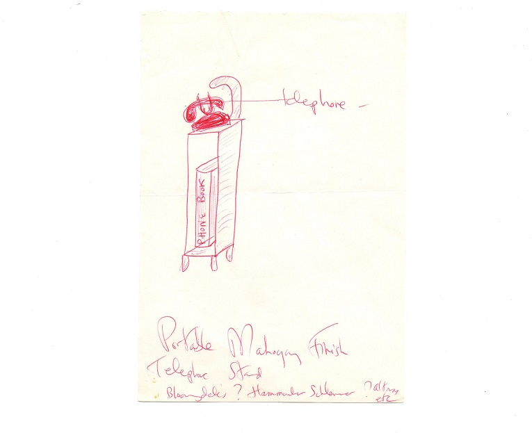 Jacqueline Kennedy Onassis - Telephone Stand Doodle First Lady Wife of JFK with Autographed Letter