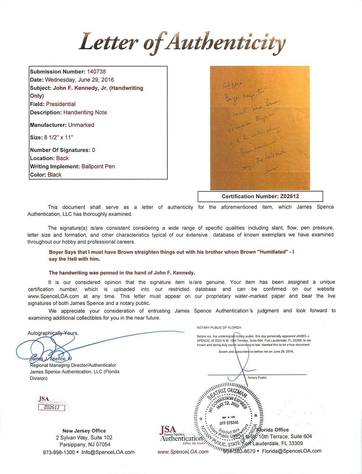 john-f-kennedy-authentic-handwriting-on-8-5x11-paper-as-senator-jsa-z02612-3