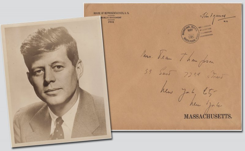 John F. Kennedy Hand Addressed House Representatives Envelope To Mrs Jean Thompson NY