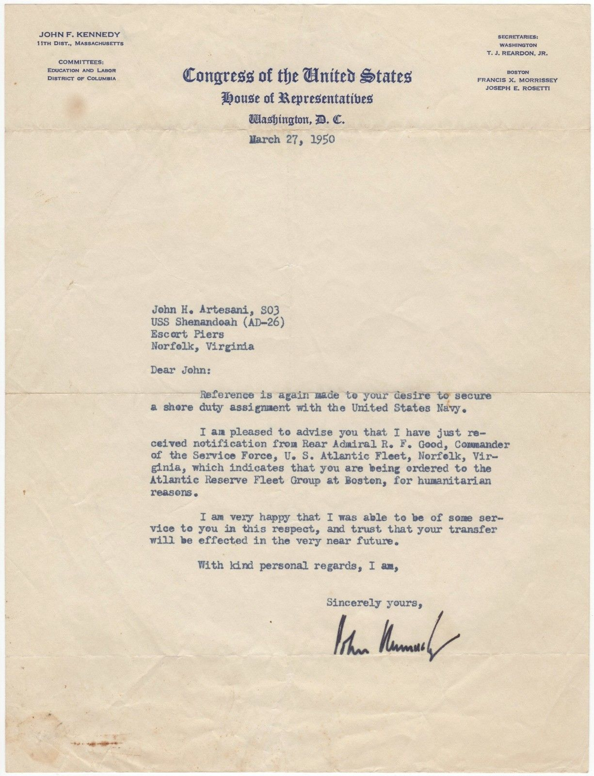 Congressman John F Kennedy uses his influence to obtain a shore assignment for a fellow veteran fine typed letter signed
