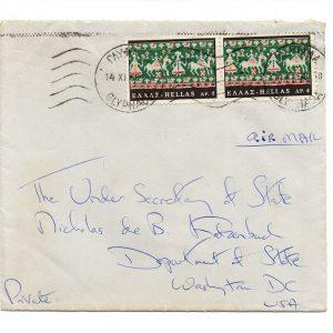 Jacqueline Kennedy Onassis - Signed Envelope Thank You Letter to Nicholas de B. Katzenbach