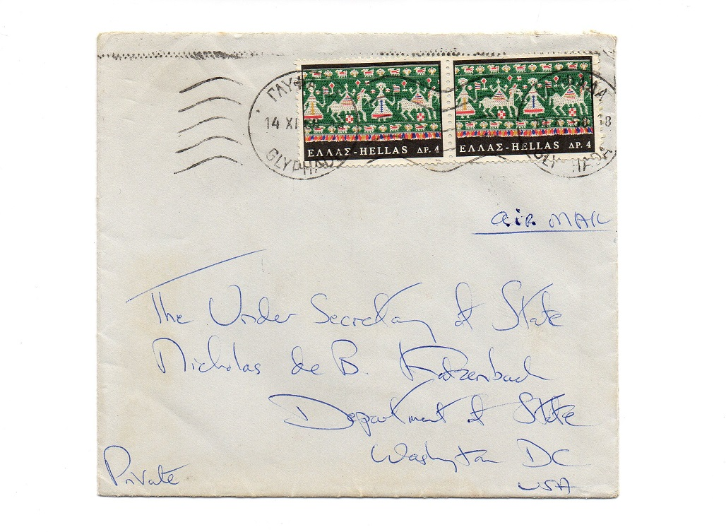 Jacqueline Kennedy Onassis - Signed Envelope Thank You Letter to Nicholas de B. Katzenbach
