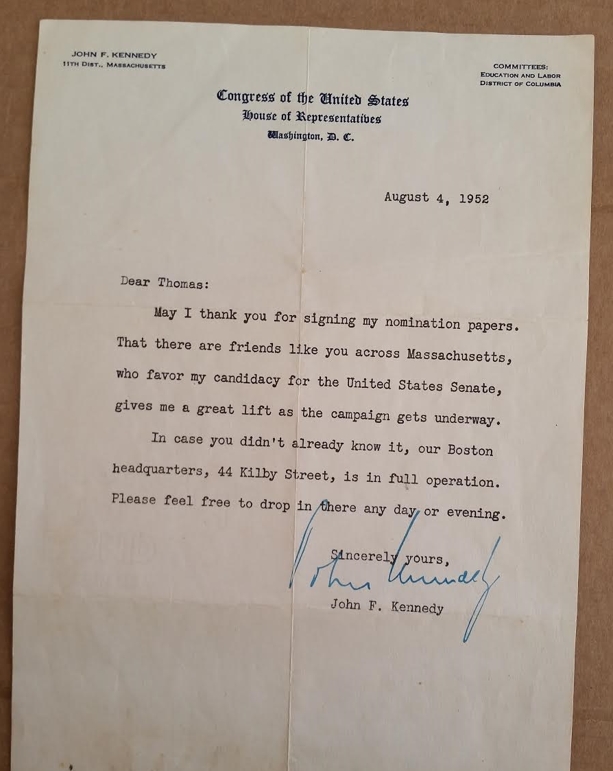 Jfk john f kennedy signed letter thank
