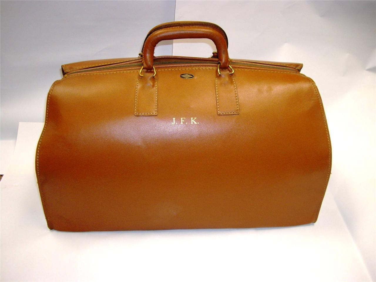 John F Kennedy Owned and Used JFK Leather Travel Bag Briefcase With Business Card